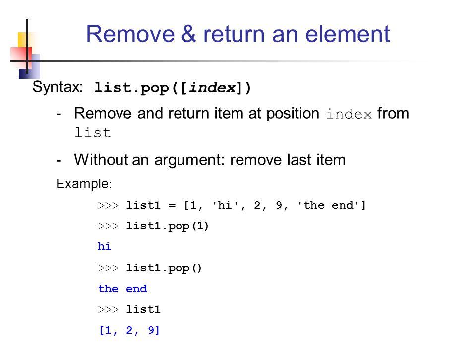 Remove & return an element