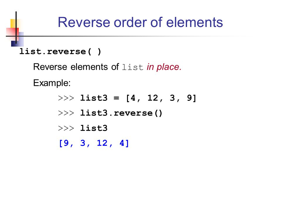 Reverse order of elements