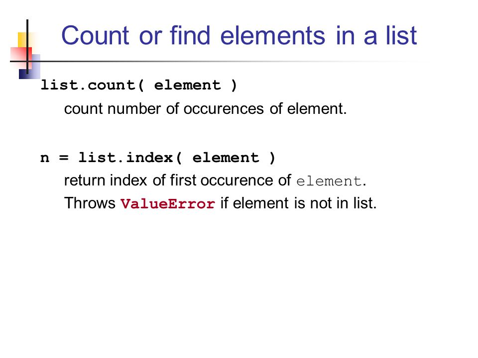 Count or find elements in a list