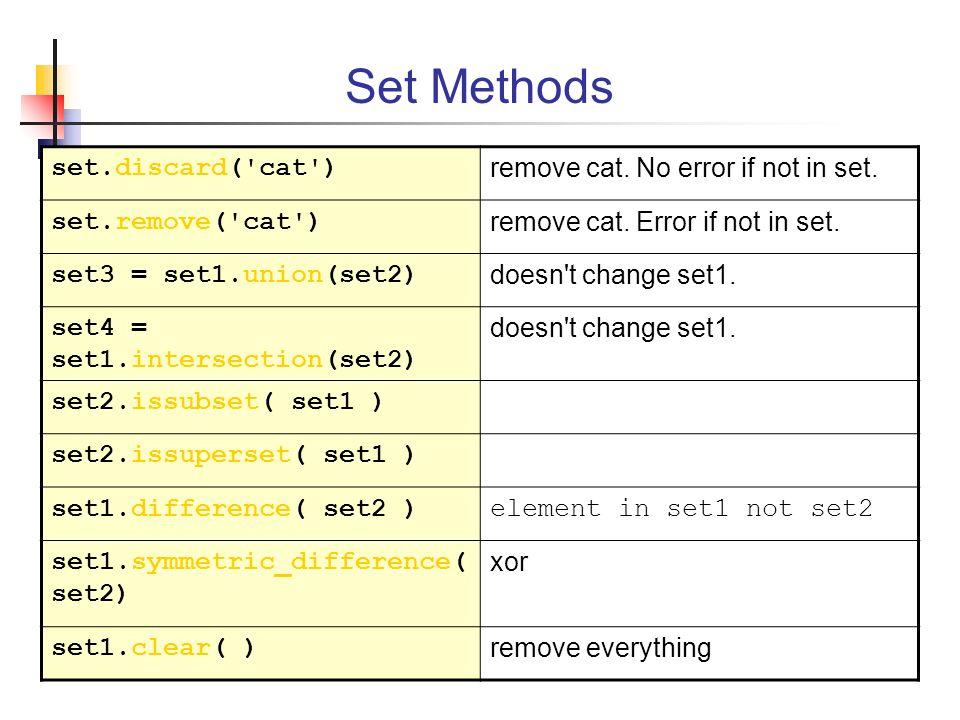 Set Methods set.discard( cat ) remove cat. No error if not in set.
