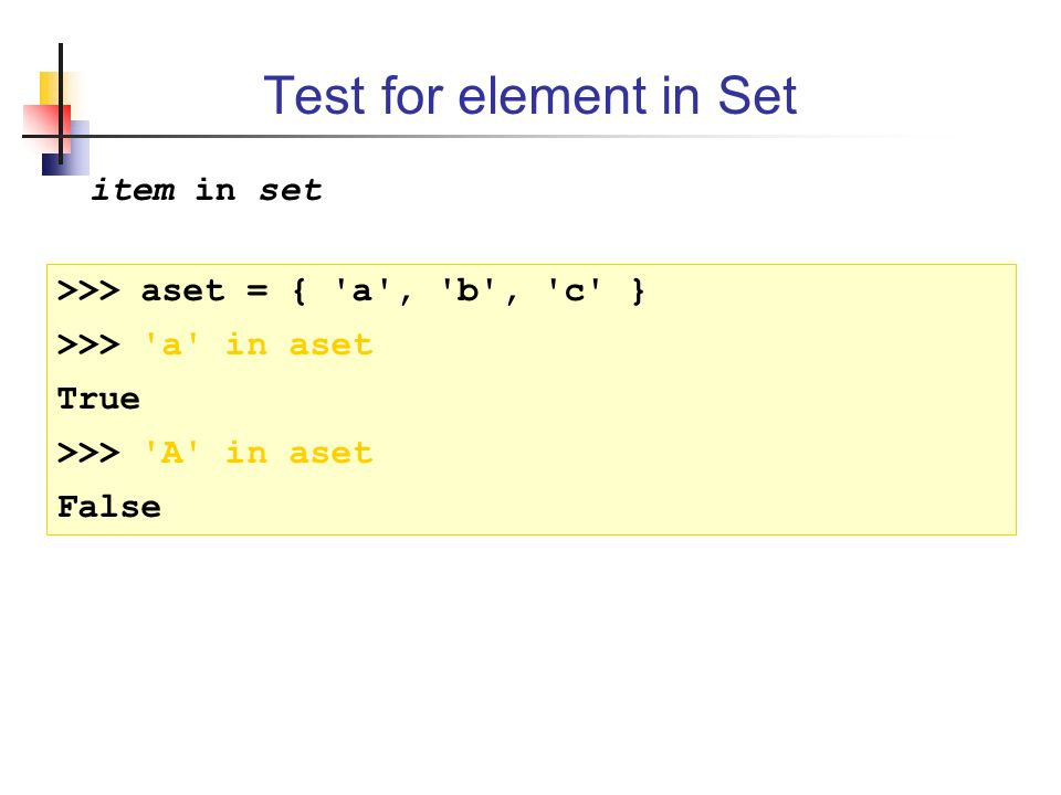 Test for element in Set item in set