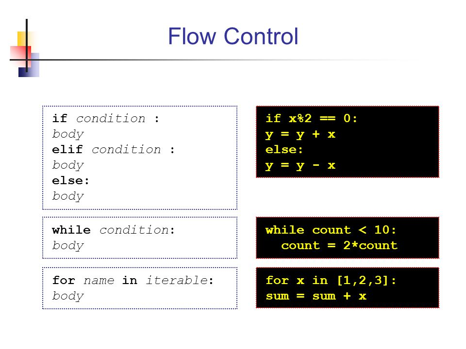 Flow Control if condition : body elif condition : else: if x%2 == 0: