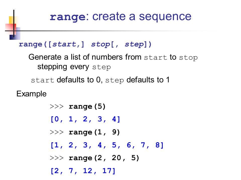 range: create a sequence