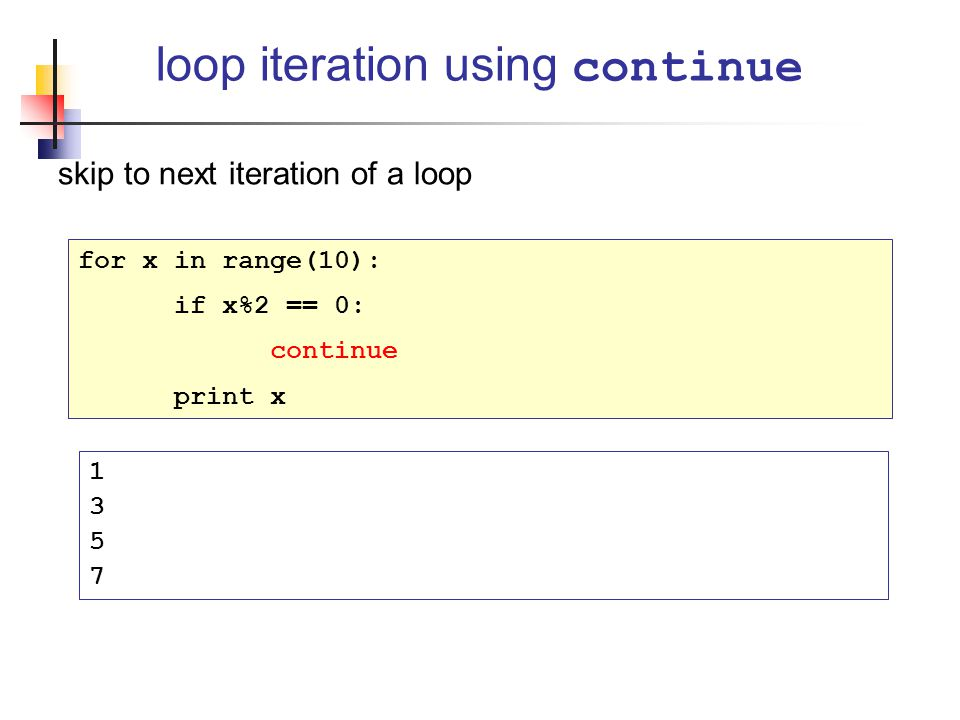 loop iteration using continue