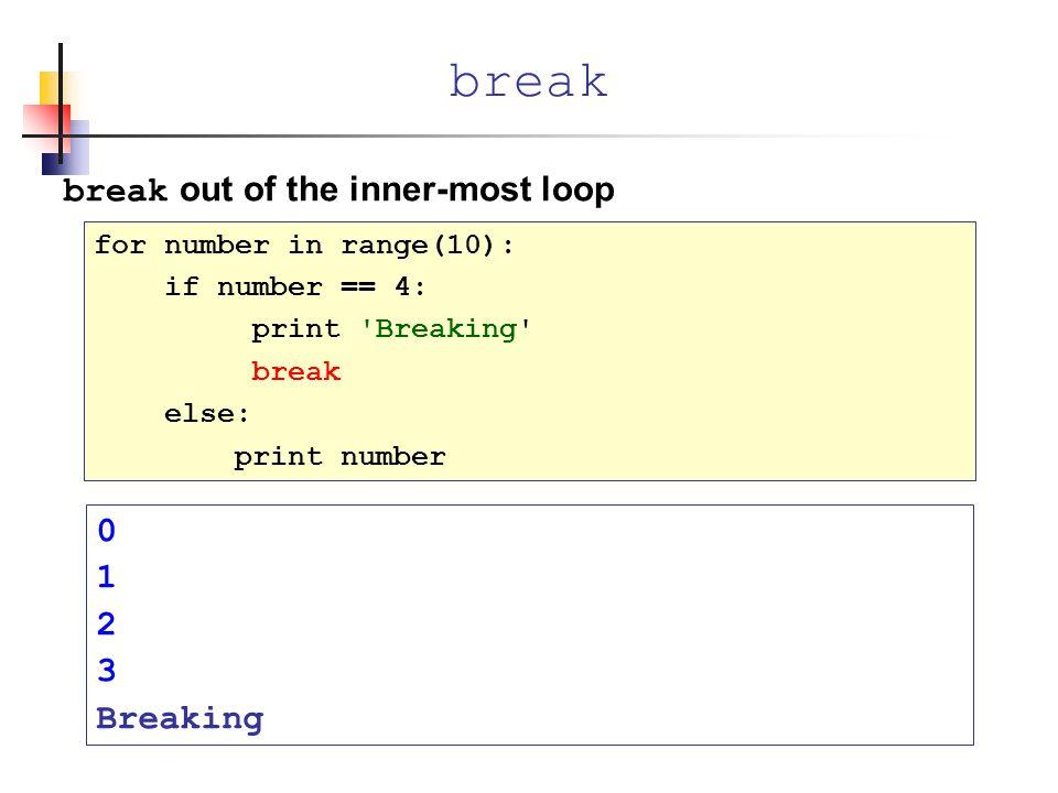 break break out of the inner-most loop 1 2 3 Breaking