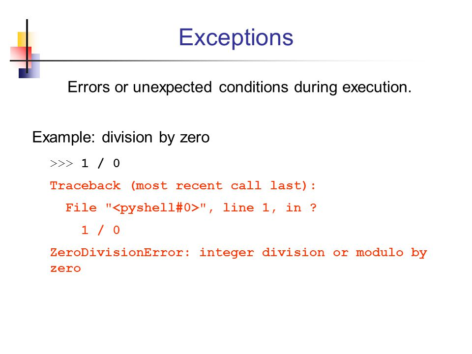 Errors or unexpected conditions during execution.