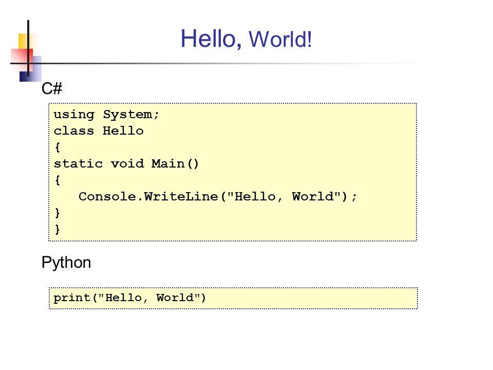 Hello, World! C# Python using System; class Hello {