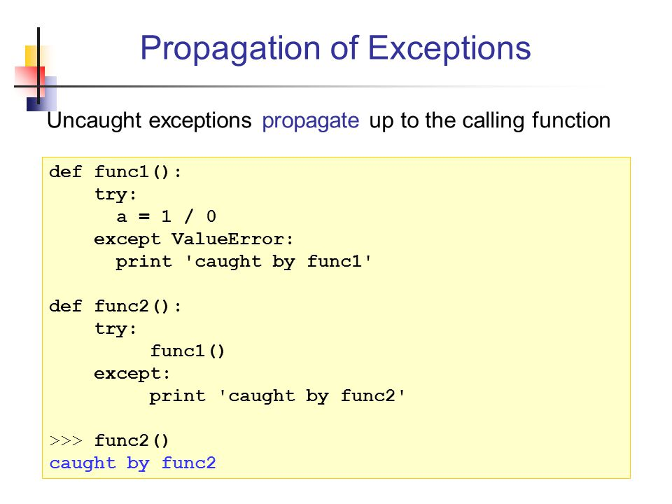 Propagation of Exceptions