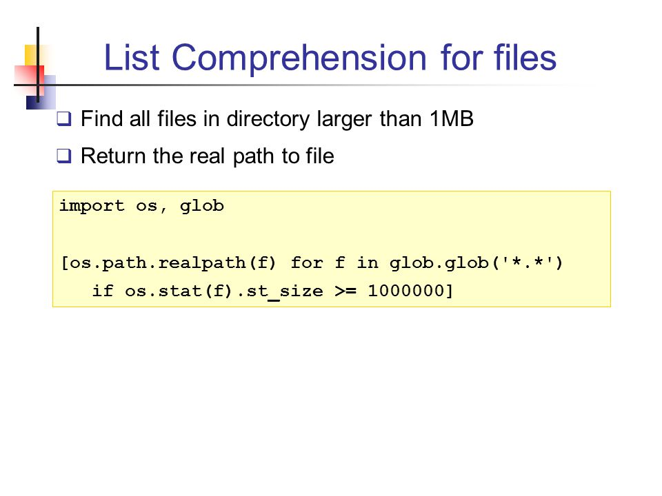 List Comprehension for files