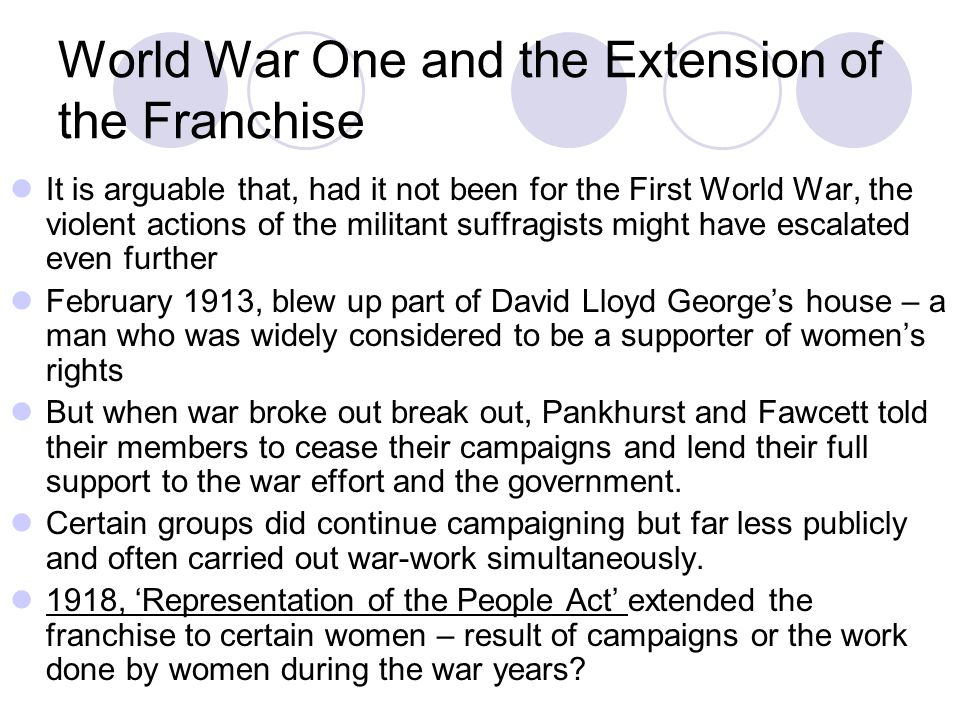 World War One and the Extension of the Franchise