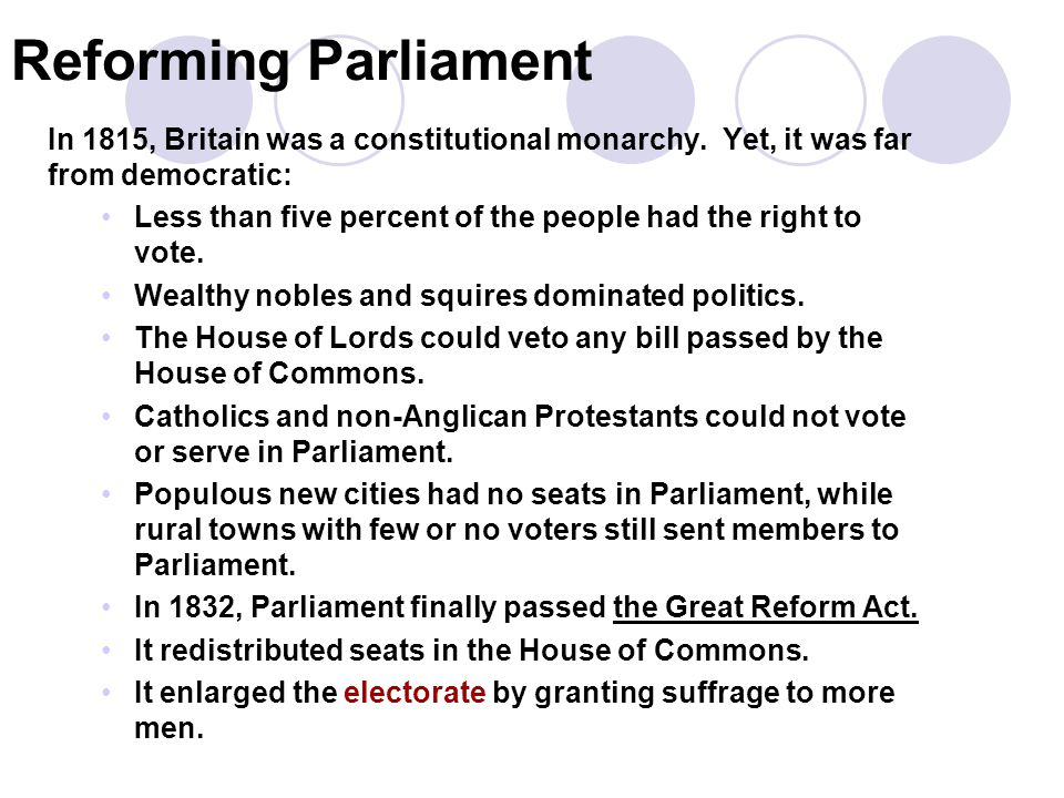 Reforming Parliament 1. In 1815, Britain was a constitutional monarchy. Yet, it was far from democratic: