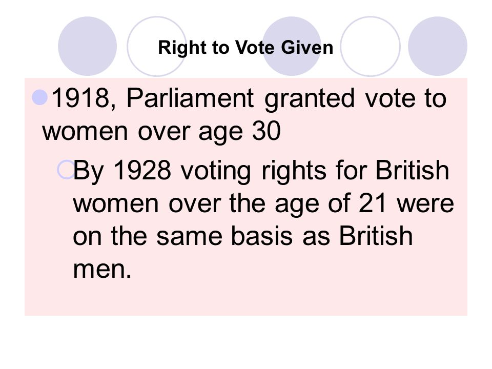 1918, Parliament granted vote to women over age 30