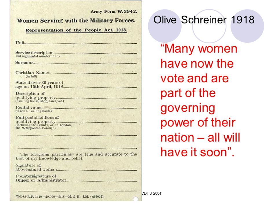 Olive Schreiner 1918 Many women have now the vote and are part of the governing power of their nation – all will have it soon .