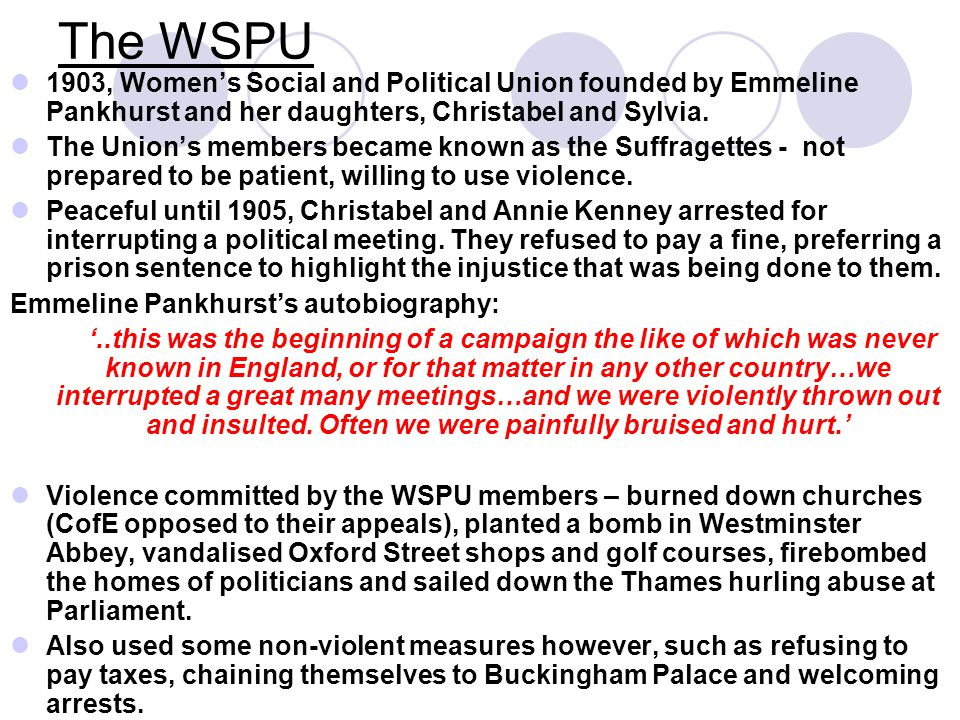 The WSPU 1903, Women's Social and Political Union founded by Emmeline Pankhurst and her daughters, Christabel and Sylvia.