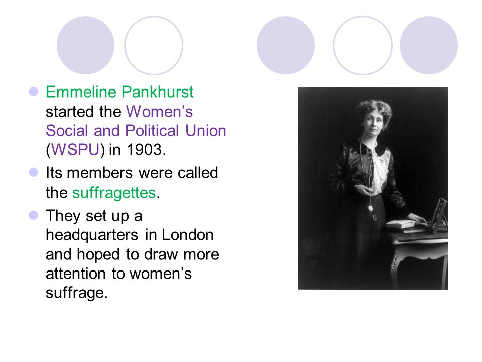 Emmeline Pankhurst started the Women's Social and Political Union (WSPU) in 1903.
