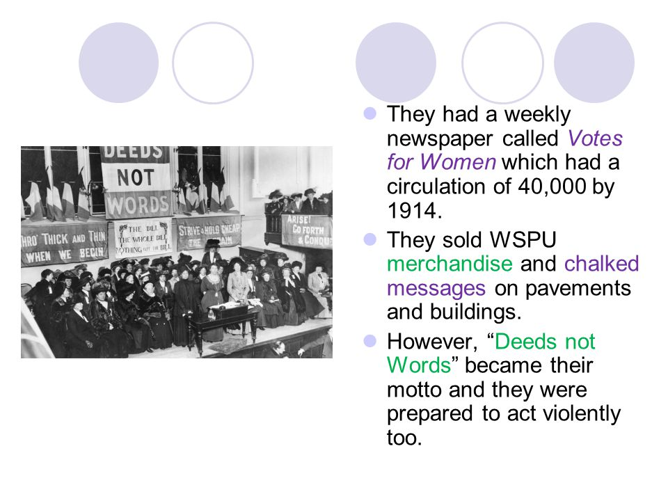 They had a weekly newspaper called Votes for Women which had a circulation of 40,000 by 1914.