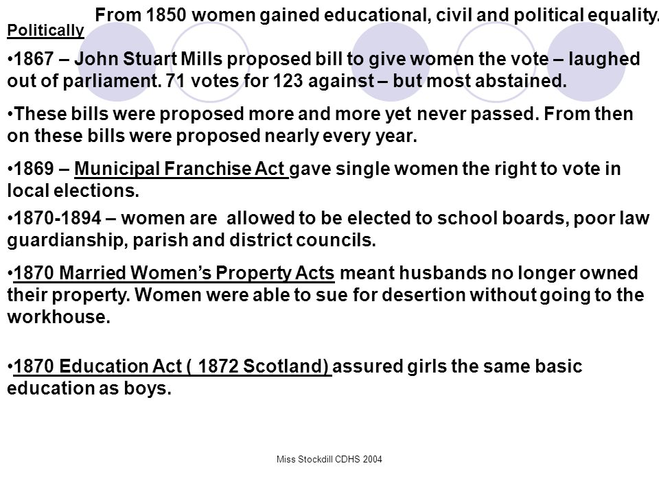 From 1850 women gained educational, civil and political equality.