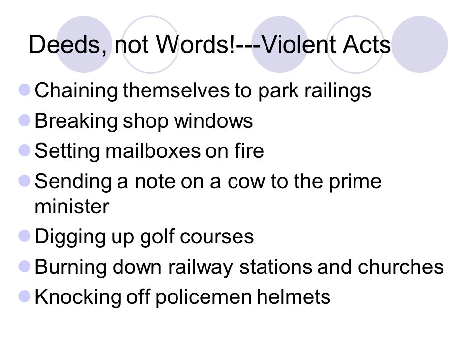Deeds, not Words!---Violent Acts