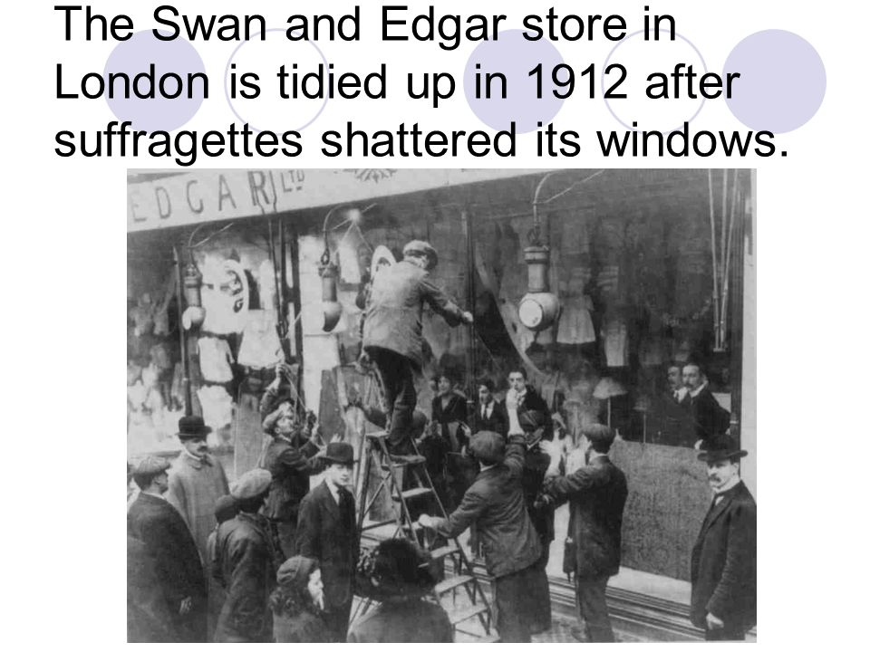The Swan and Edgar store in London is tidied up in 1912 after suffragettes shattered its windows.