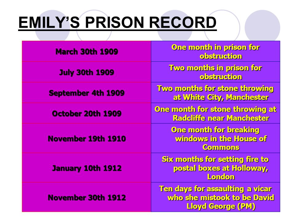 EMILY'S PRISON RECORD One month in prison for obstruction