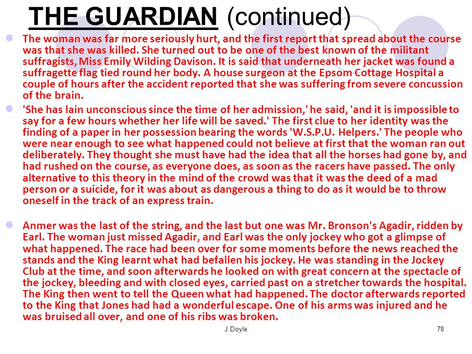 THE GUARDIAN (continued)