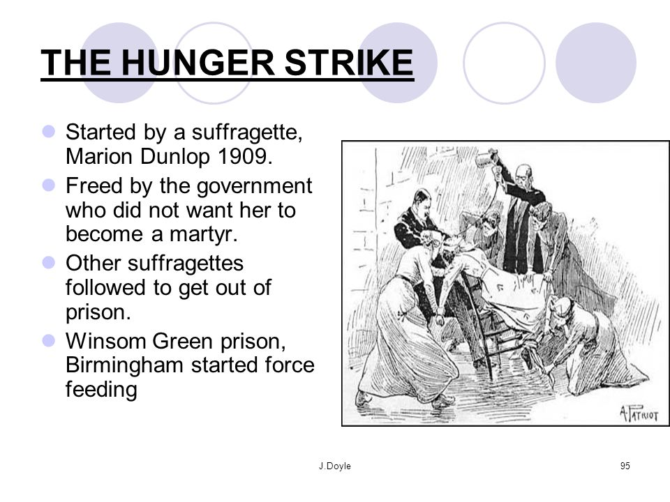 THE HUNGER STRIKE Started by a suffragette, Marion Dunlop 1909.