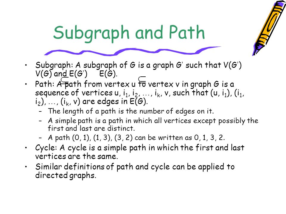 Subgraph and Path Subgraph: A subgraph of G is a graph G' such that V(G') V(G) and E(G') E(G).