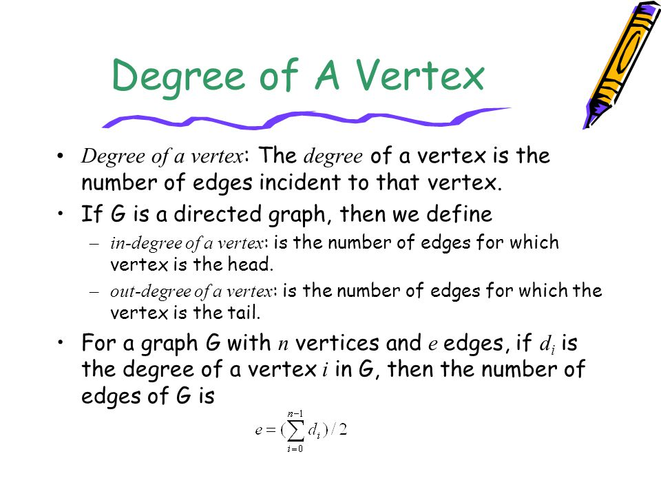 Degree of A Vertex Degree of a vertex: The degree of a vertex is the number of edges incident to that vertex.