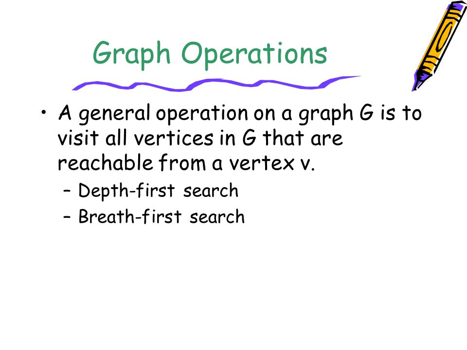 Graph Operations A general operation on a graph G is to visit all vertices in G that are reachable from a vertex v.