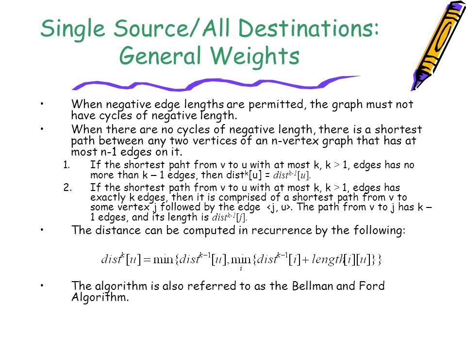 Single Source/All Destinations: General Weights