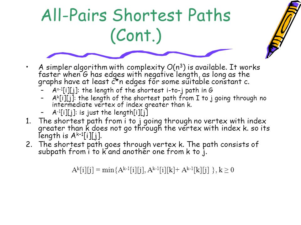 All-Pairs Shortest Paths (Cont.)