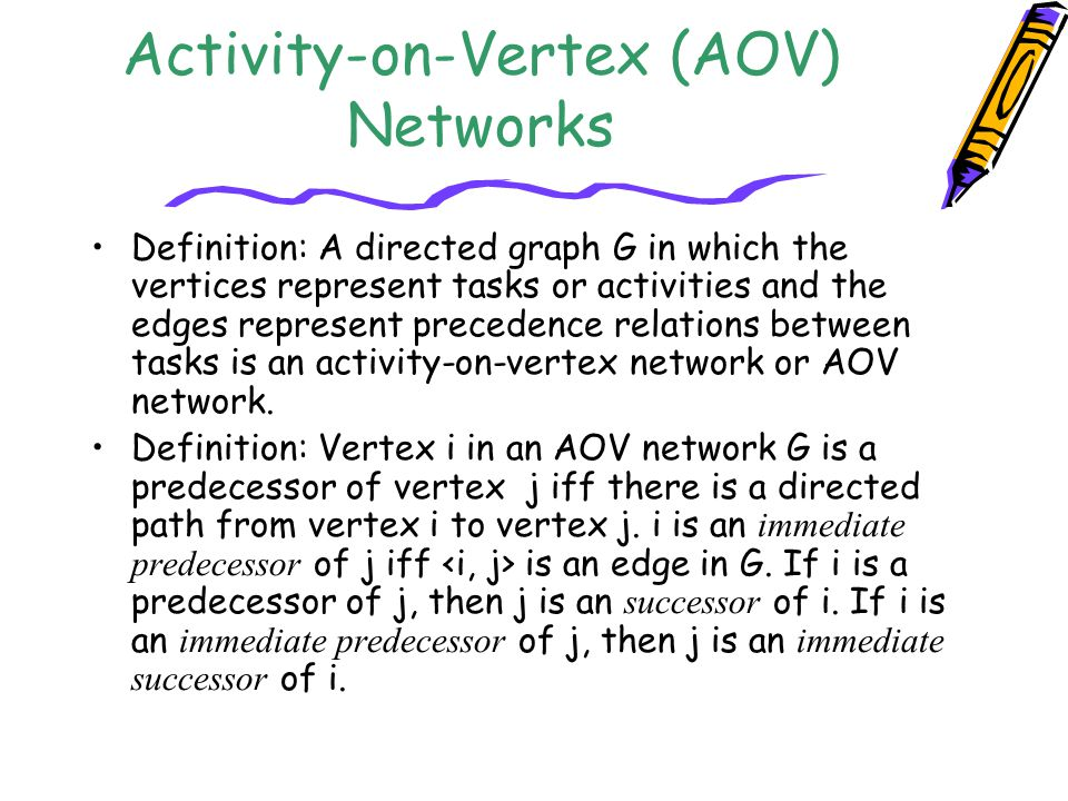 Activity-on-Vertex (AOV) Networks