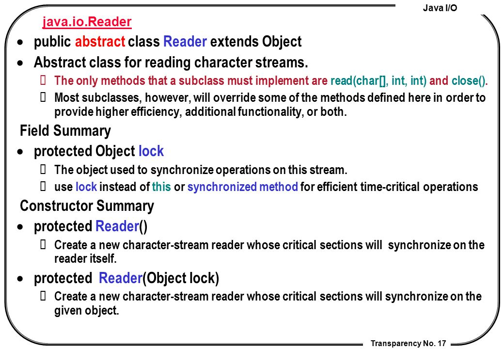 public abstract class Reader extends Object