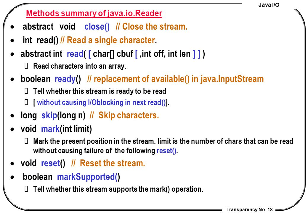 Methods summary of java.io.Reader
