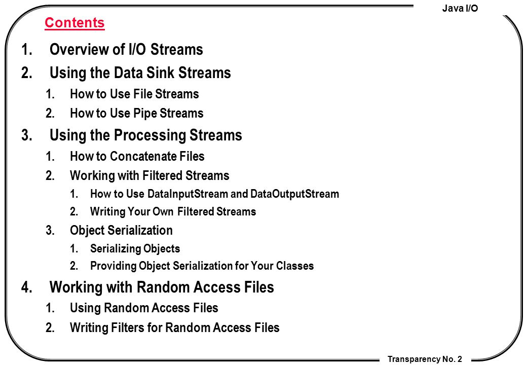 Overview of I/O Streams Using the Data Sink Streams