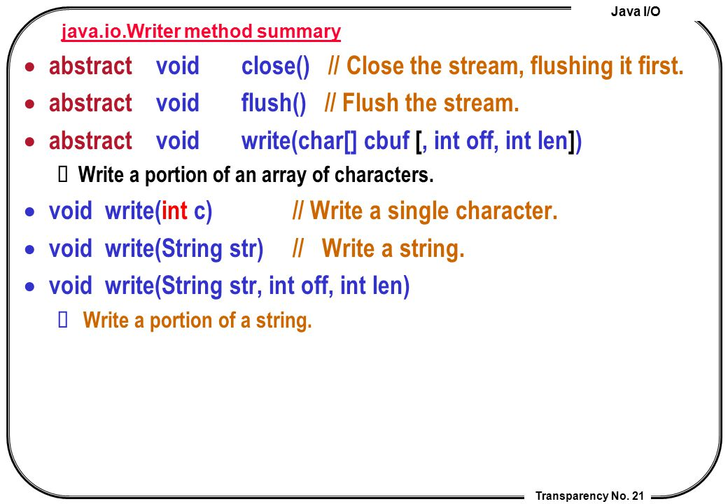 java.io.Writer method summary
