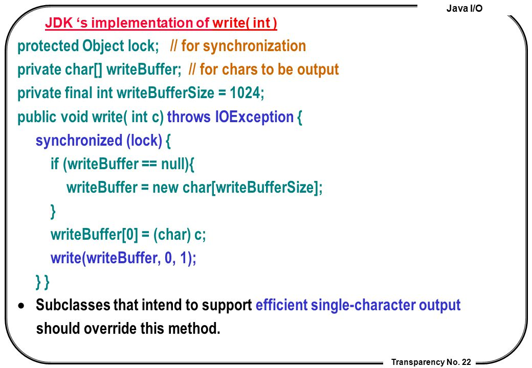 JDK 's implementation of write( int )