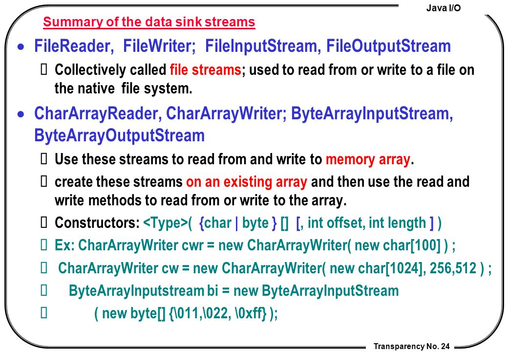 Summary of the data sink streams