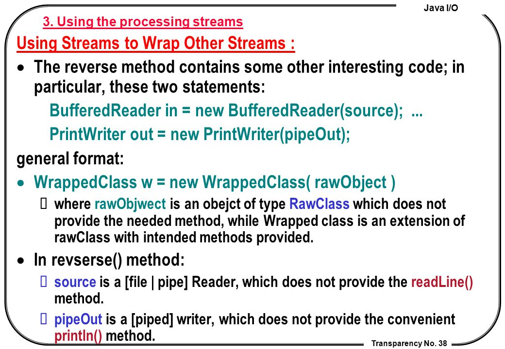 3. Using the processing streams