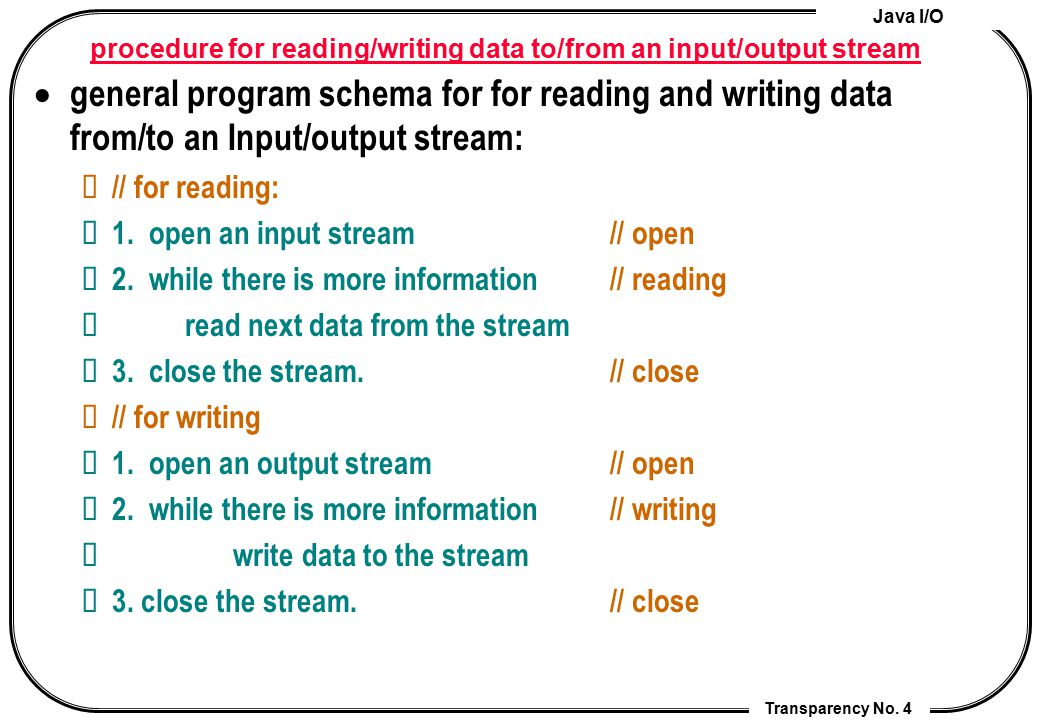procedure for reading/writing data to/from an input/output stream