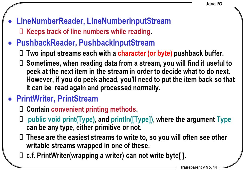LineNumberReader, LineNumberInputStream