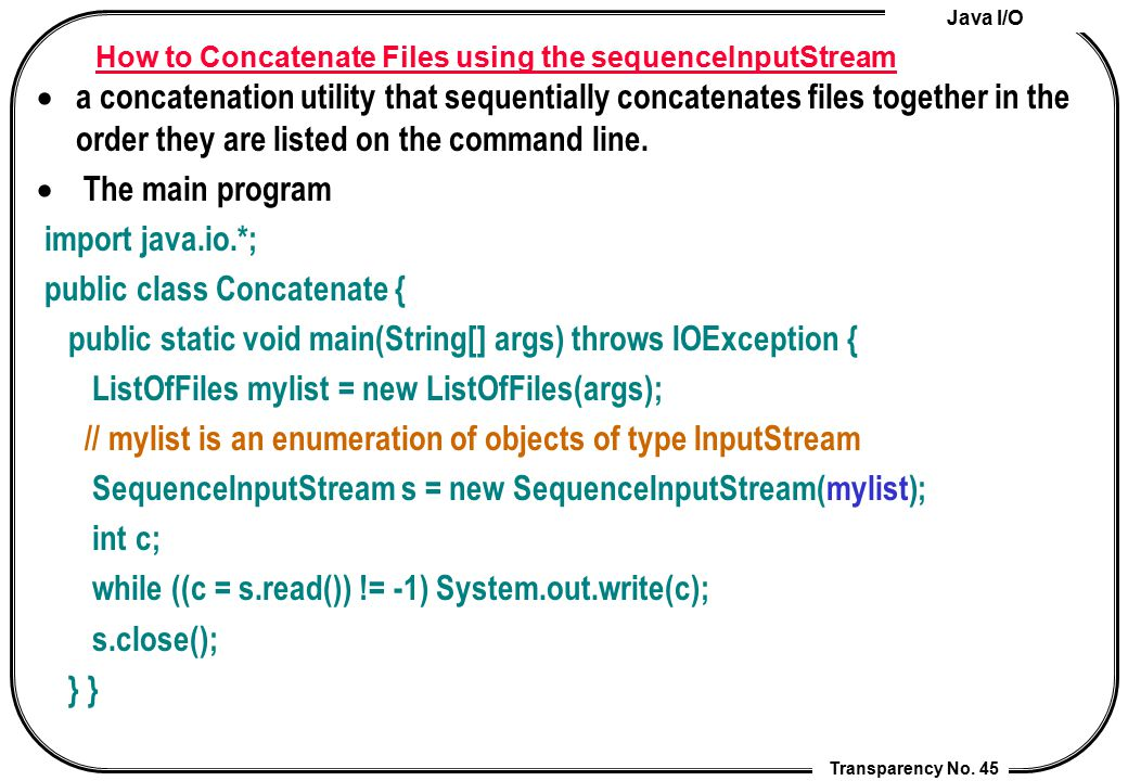 How to Concatenate Files using the sequenceInputStream