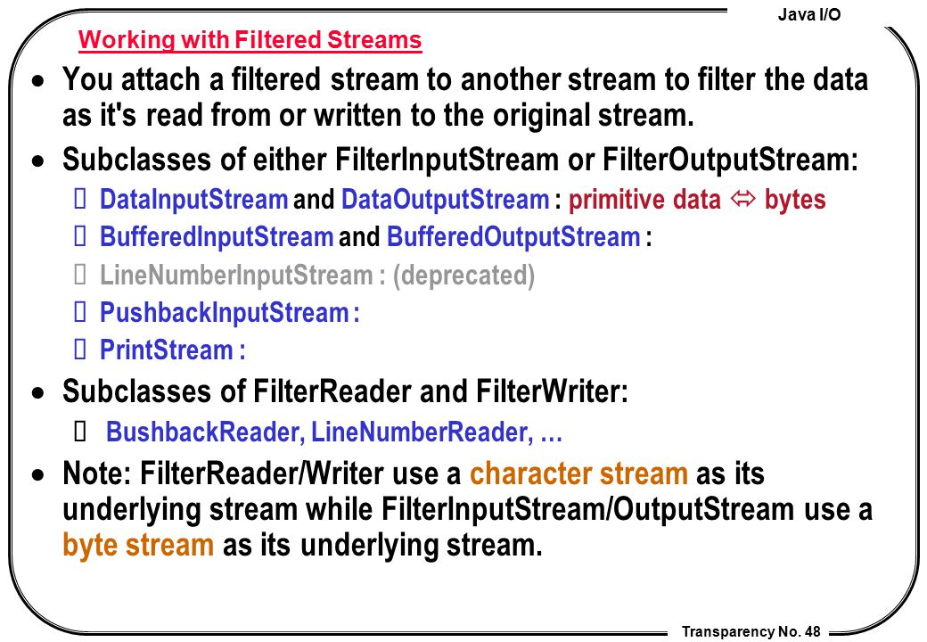 Working with Filtered Streams