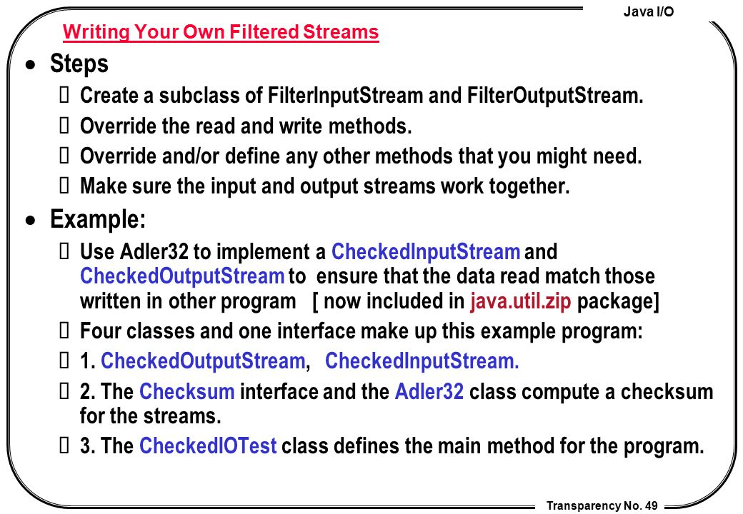 Writing Your Own Filtered Streams