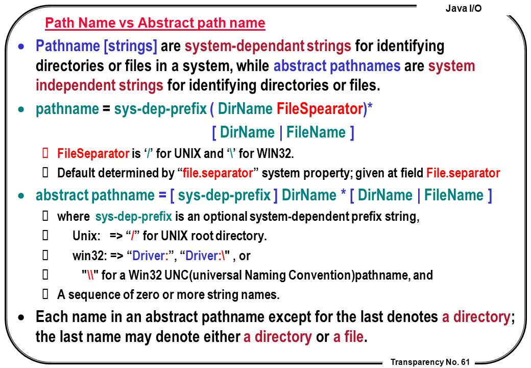 Path Name vs Abstract path name