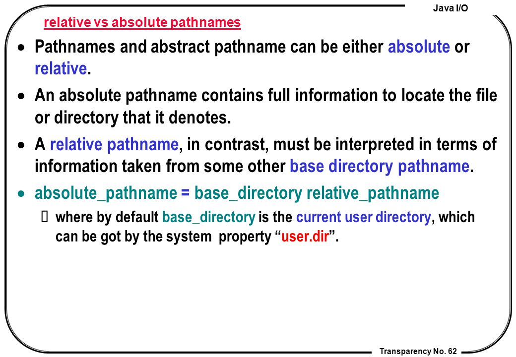 relative vs absolute pathnames