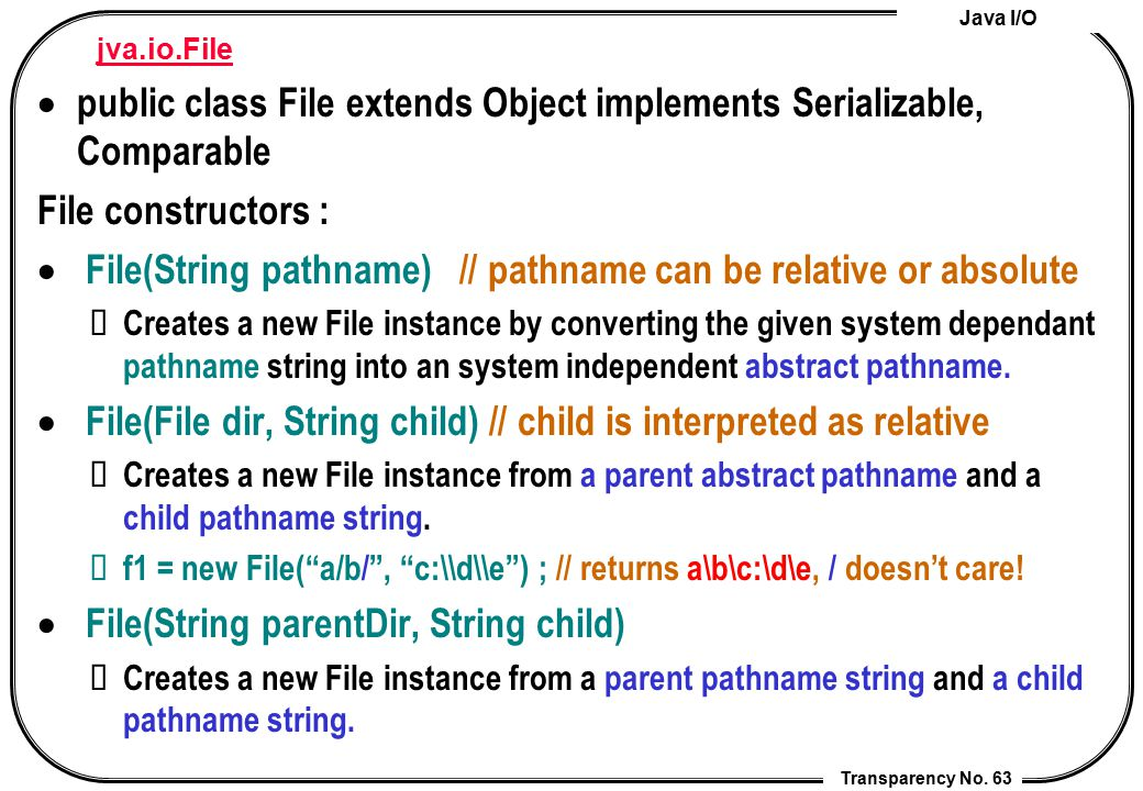 public class File extends Object implements Serializable, Comparable