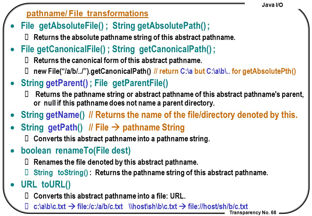 pathname/ File transformations