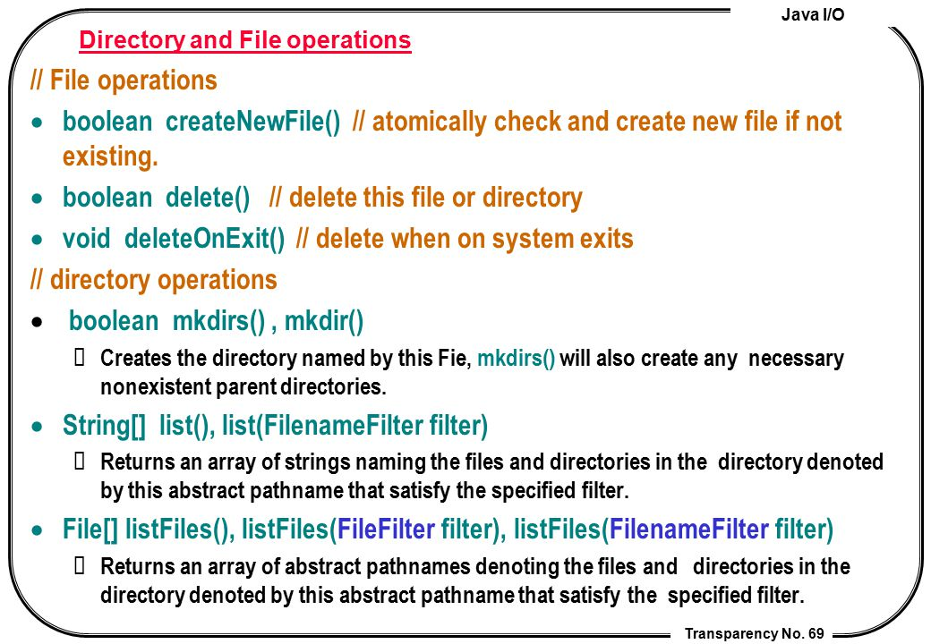 Directory and File operations