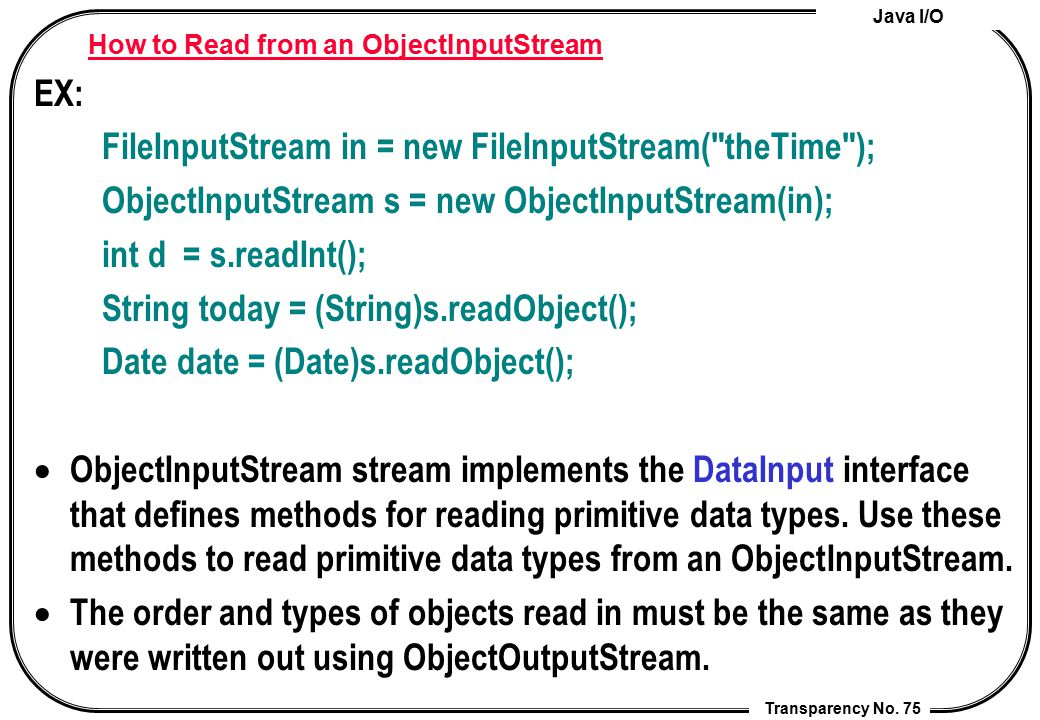 How to Read from an ObjectInputStream